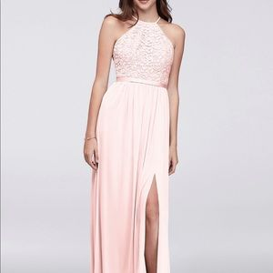 Davids Bridal Petal Pink open back chiffon dress